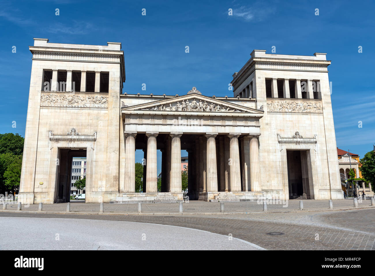 The Propylaea at the Koenigsplatz in Munich on a sunny day - Stock Image