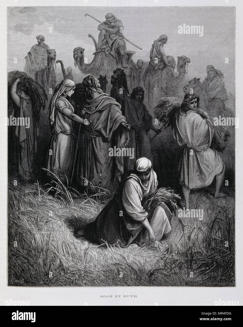 Ruth approaches Boaz and asks him to exercise his right of kinship and marry her., Illustration from the Dore Bible 1866. In 1866, the French artist and illustrator Gustave Dore (1832–1883), published a series of 241 wood engravings for a new deluxe edition of the 1843 French translation of the Vulgate Bible, popularly known as the Bible de Tours. This new edition was known as La Grande Bible de Tours and its illustrations were immensely successful. - Stock Image
