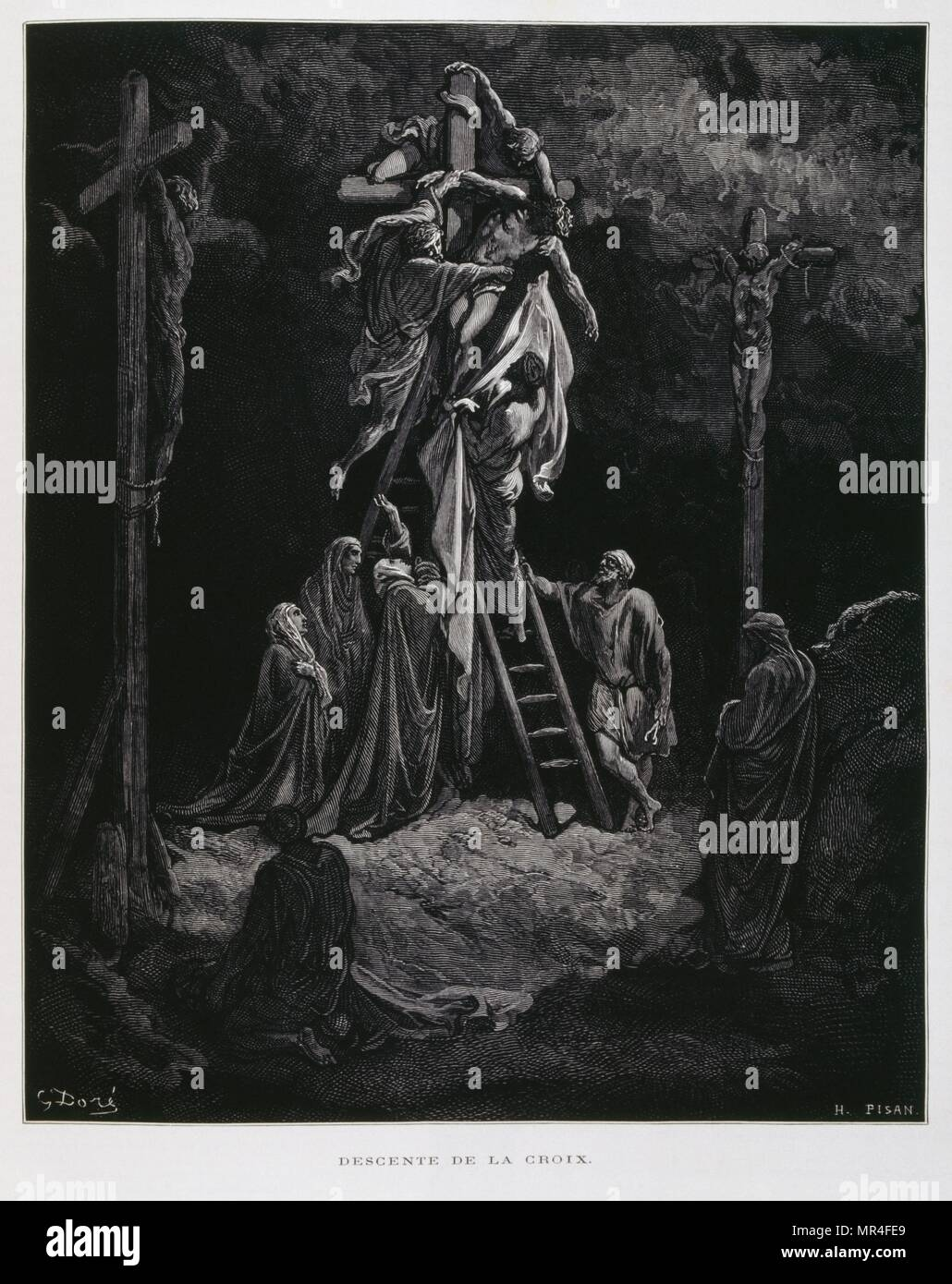 Descent from the cross, the deposition of Christ, Illustration from the Dore Bible 1866. In 1866, the French artist and illustrator Gustave Dore (1832–1883), published a series of 241 wood engravings for a new deluxe edition of the 1843 French translation of the Vulgate Bible, popularly known as the Bible de Tours. This new edition was known as La Grande Bible de Tours and its illustrations were immensely successful. - Stock Image