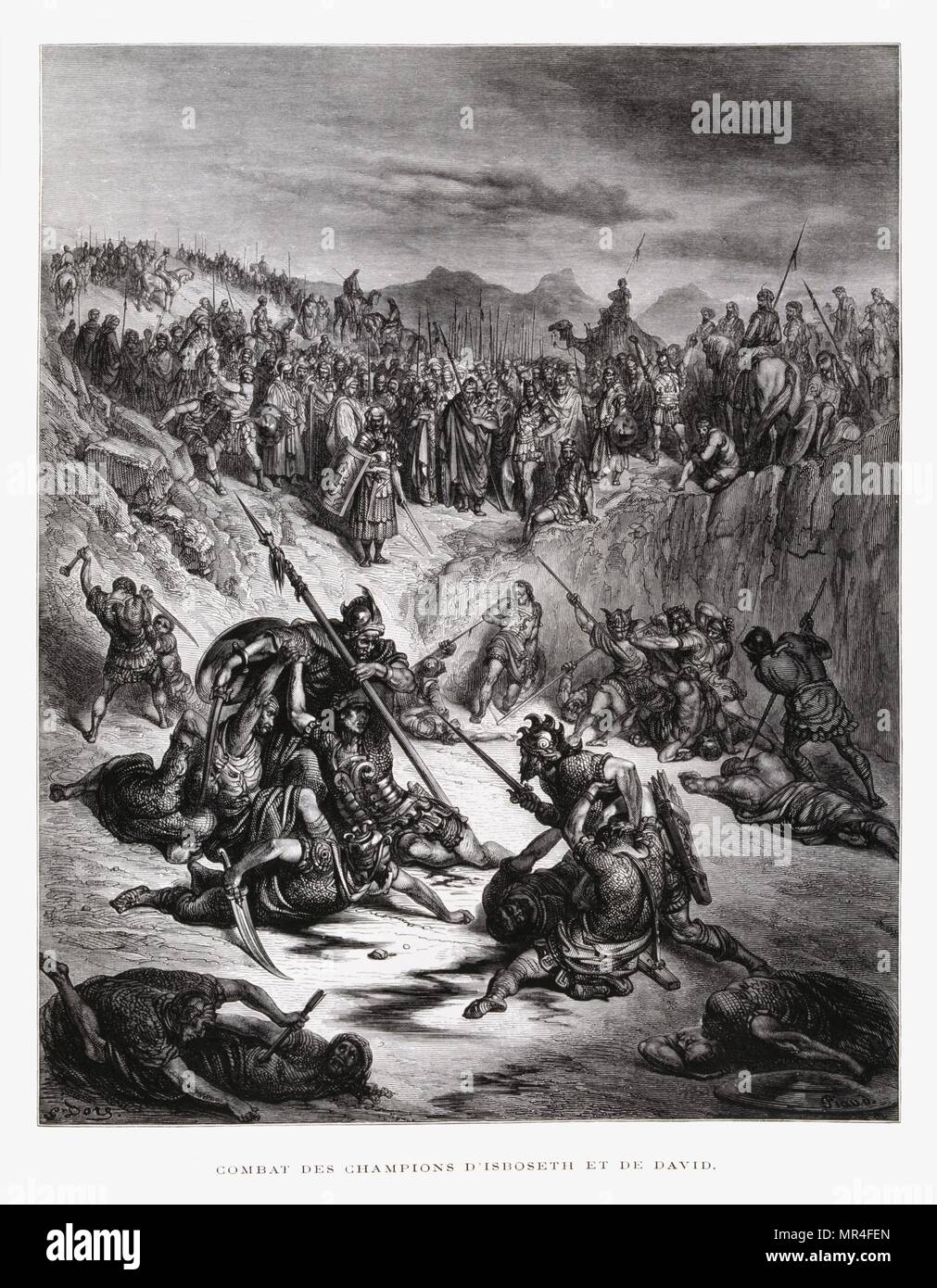 Combat Soldiers of Ish-bosheth and David, Illustration from the Dore Bible 1866. In 1866, the French artist and illustrator Gustave Dore (1832–1883), published a series of 241 wood engravings for a new deluxe edition of the 1843 French translation of the Vulgate Bible, popularly known as the Bible de Tours. This new edition was known as La Grande Bible de Tours and its illustrations were immensely successful. - Stock Image