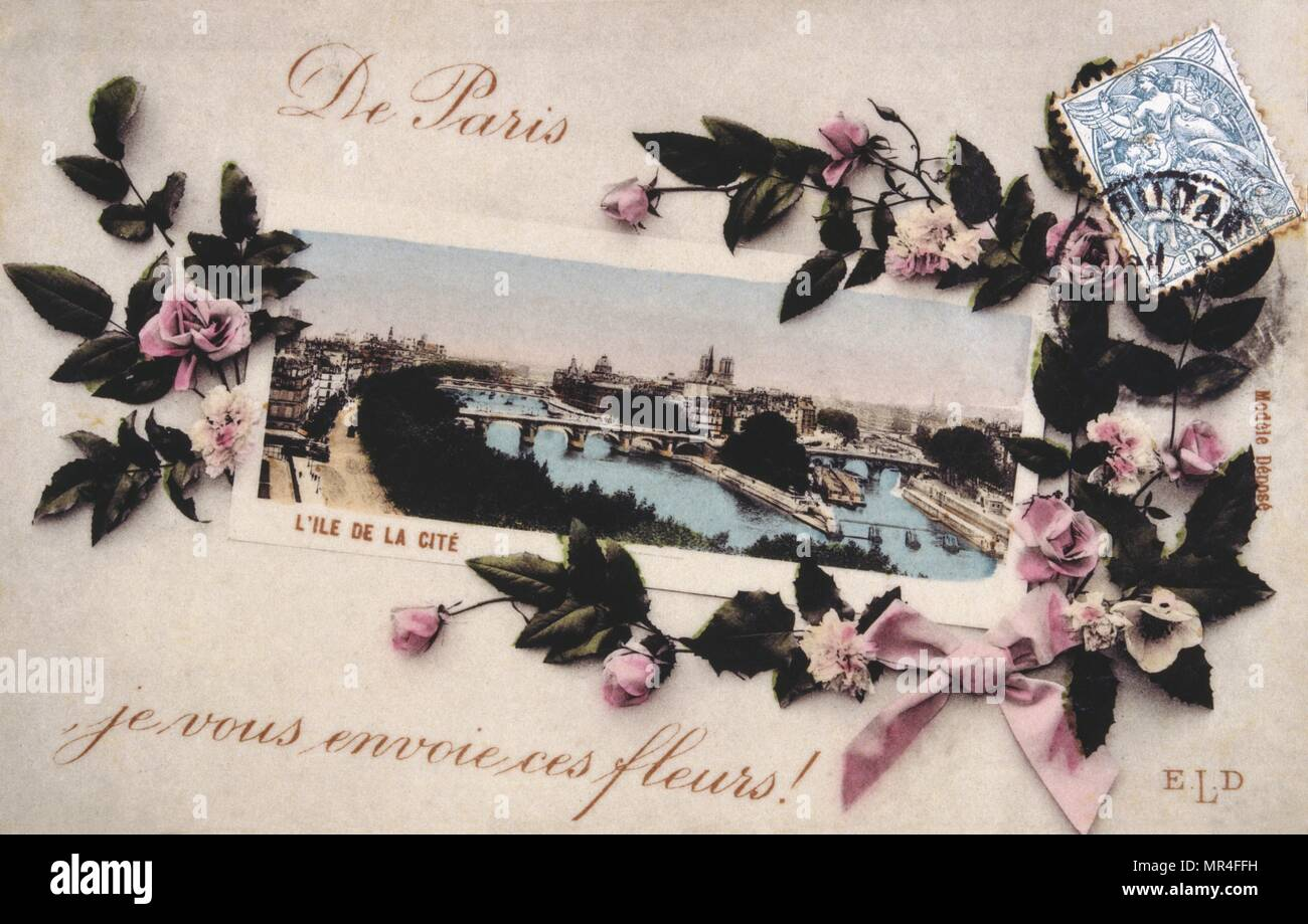 French postcard with images of flowers 1900 - Stock Image