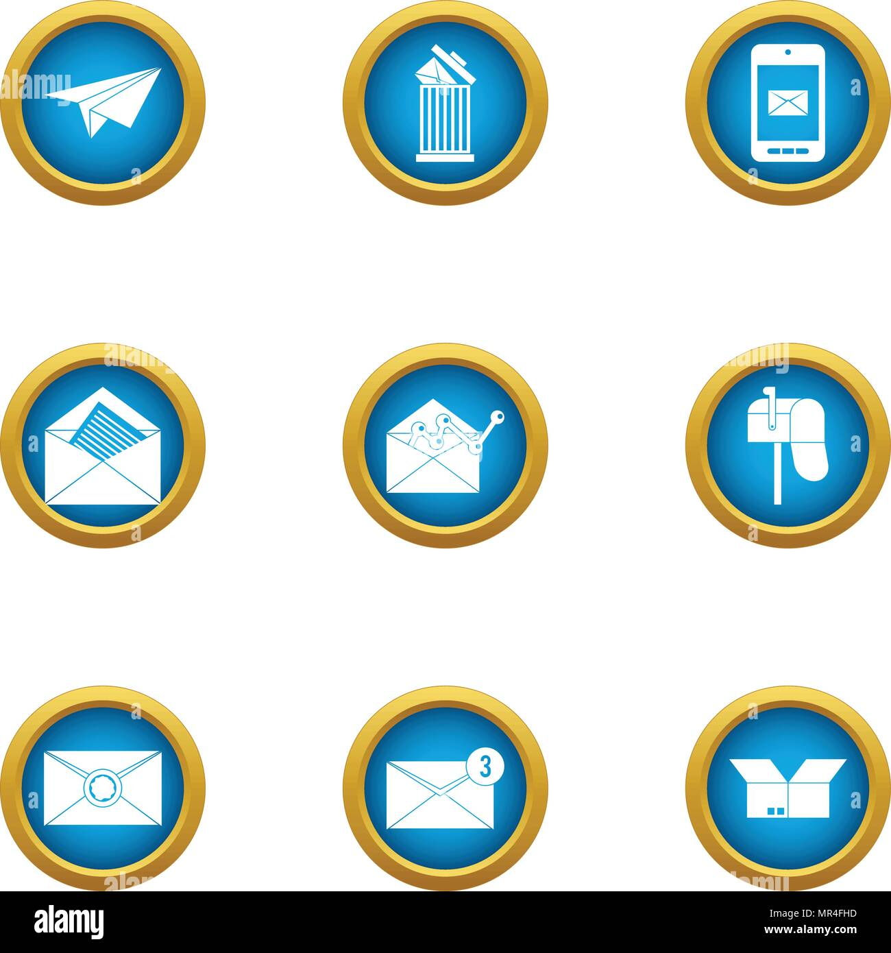 Postal parcel icons set, flat style - Stock Vector