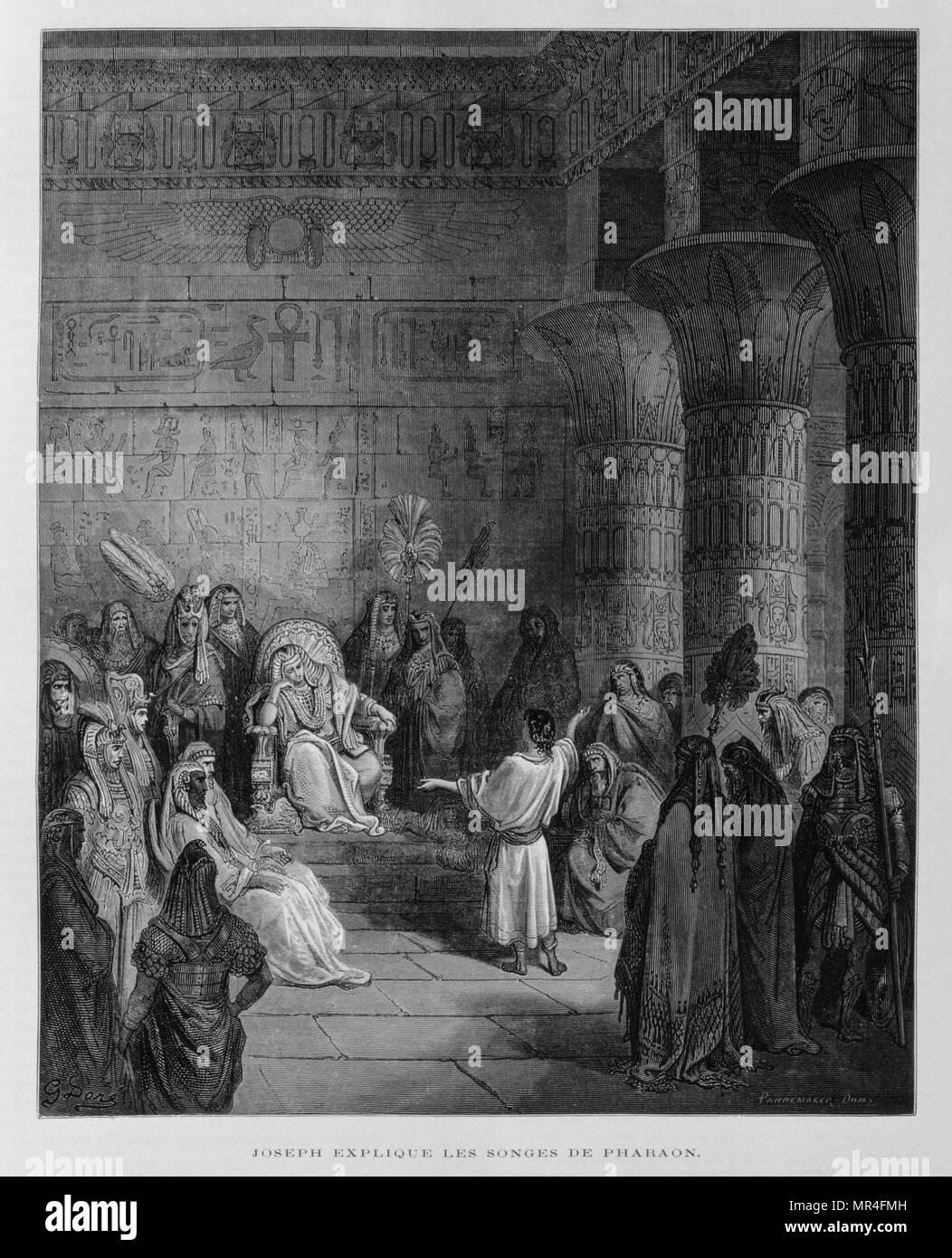 Joseph interprets the dreams of the Pharaoh of Egypt, Illustration from the Dore Bible 1866. In 1866, the French artist and illustrator Gustave Doré (1832–1883), published a series of 241 wood engravings for a new deluxe edition of the 1843 French translation of the Vulgate Bible, popularly known as the Bible de Tours. This new edition was known as La Grande Bible de Tours and its illustrations were immensely successful. - Stock Image