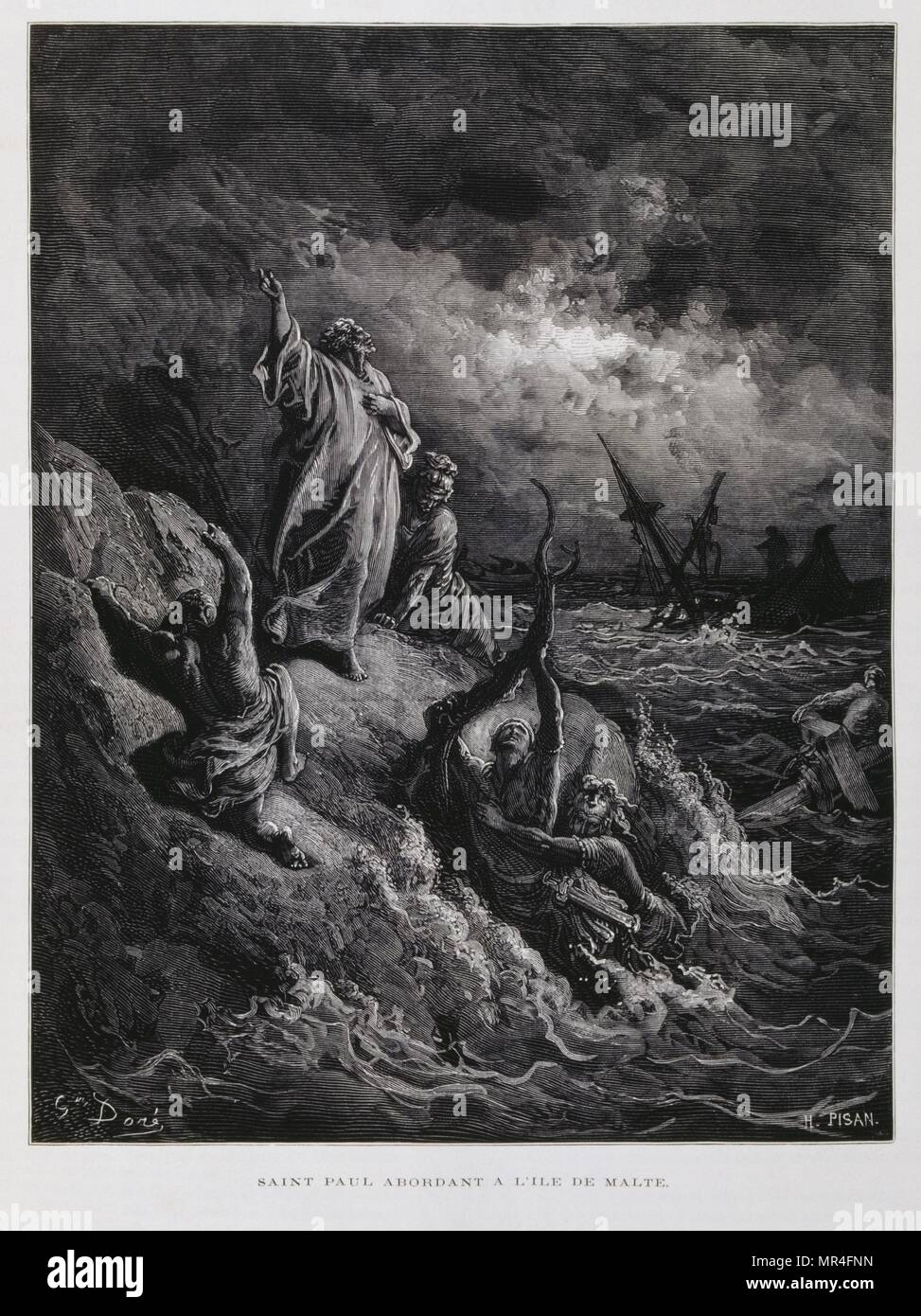 St Paul Landing at Malta, Illustration from the Dore Bible 1866. In 1866, the French artist and illustrator Gustave Doré (1832–1883), published a series of 241 wood engravings for a new deluxe edition of the 1843 French translation of the Vulgate Bible, popularly known as the Bible de Tours. This new edition was known as La Grande Bible de Tours and its illustrations were immensely successful. - Stock Image