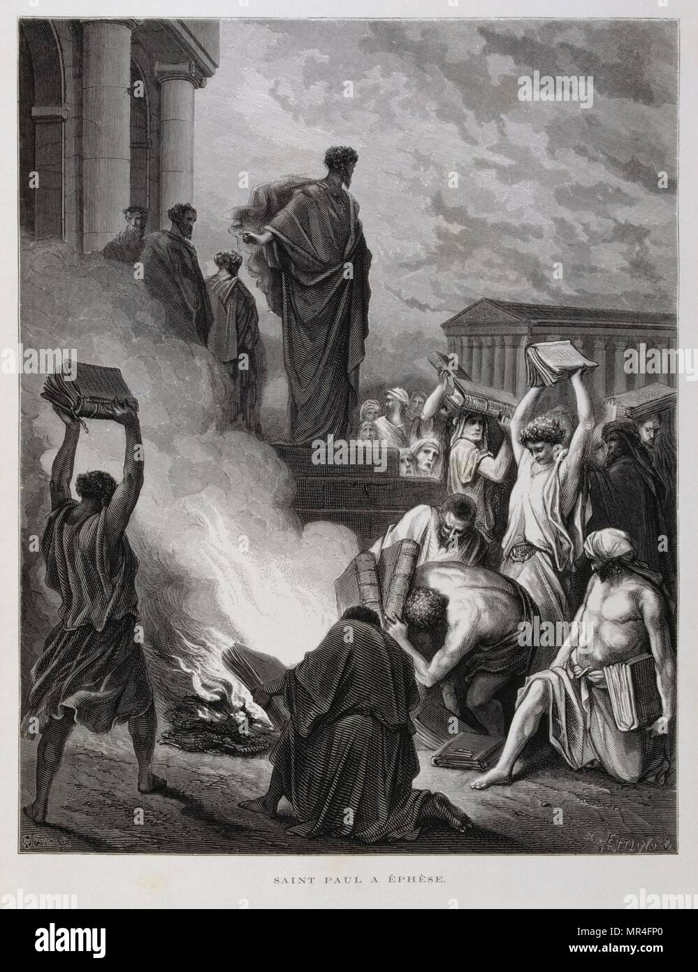 Saint Paul at Ephesus, Illustration from the Dore Bible 1866. In 1866, the French artist and illustrator Gustave Doré (1832–1883), published a series of 241 wood engravings for a new deluxe edition of the 1843 French translation of the Vulgate Bible, popularly known as the Bible de Tours. This new edition was known as La Grande Bible de Tours and its illustrations were immensely successful. - Stock Image