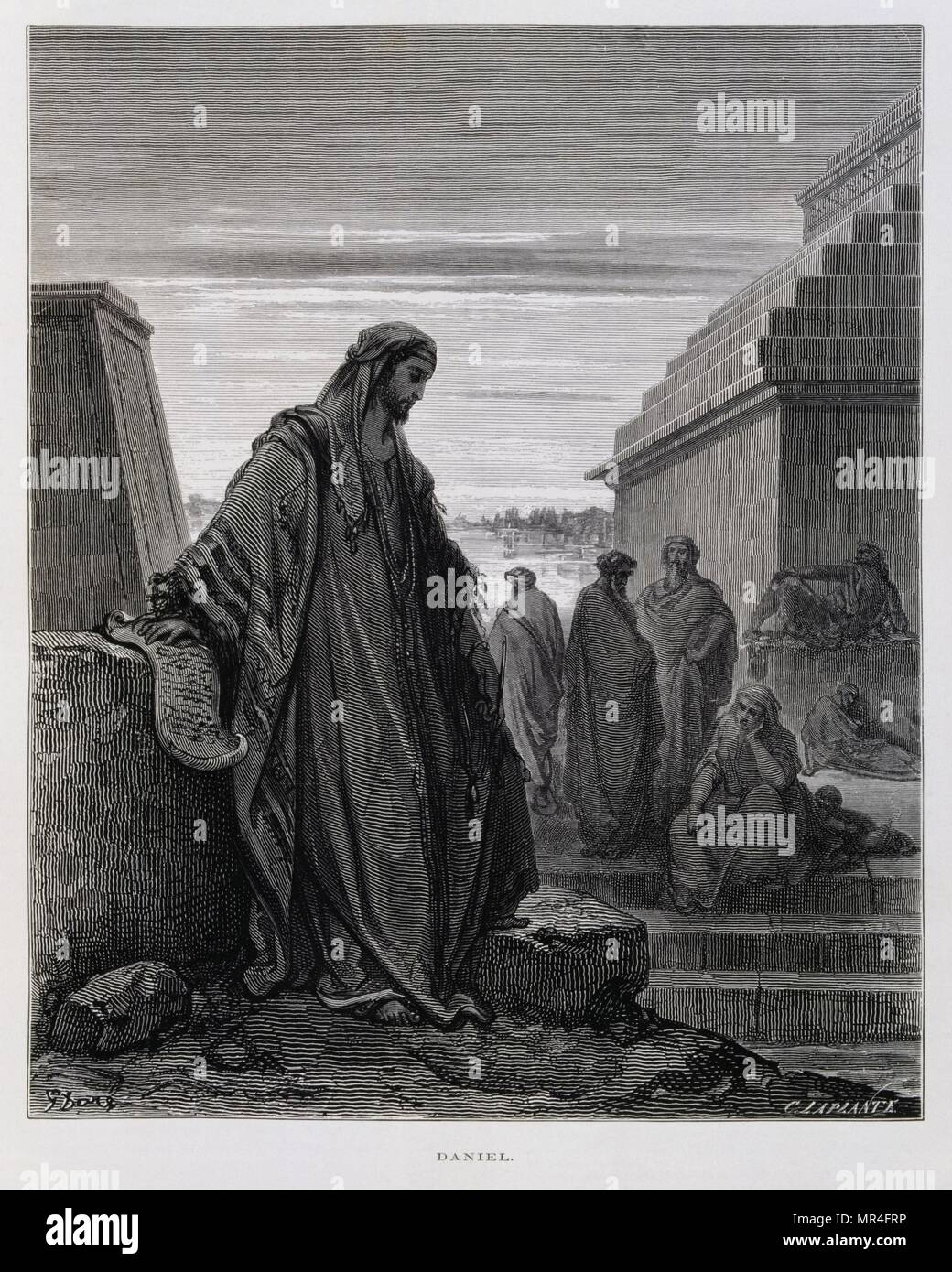 The prophet Daniel, Illustration from the Dore Bible 1866. In 1866, the French artist and illustrator Gustave Doré (1832–1883), published a series of 241 wood engravings for a new deluxe edition of the 1843 French translation of the Vulgate Bible, popularly known as the Bible de Tours. This new edition was known as La Grande Bible de Tours and its illustrations were immensely successful. - Stock Image