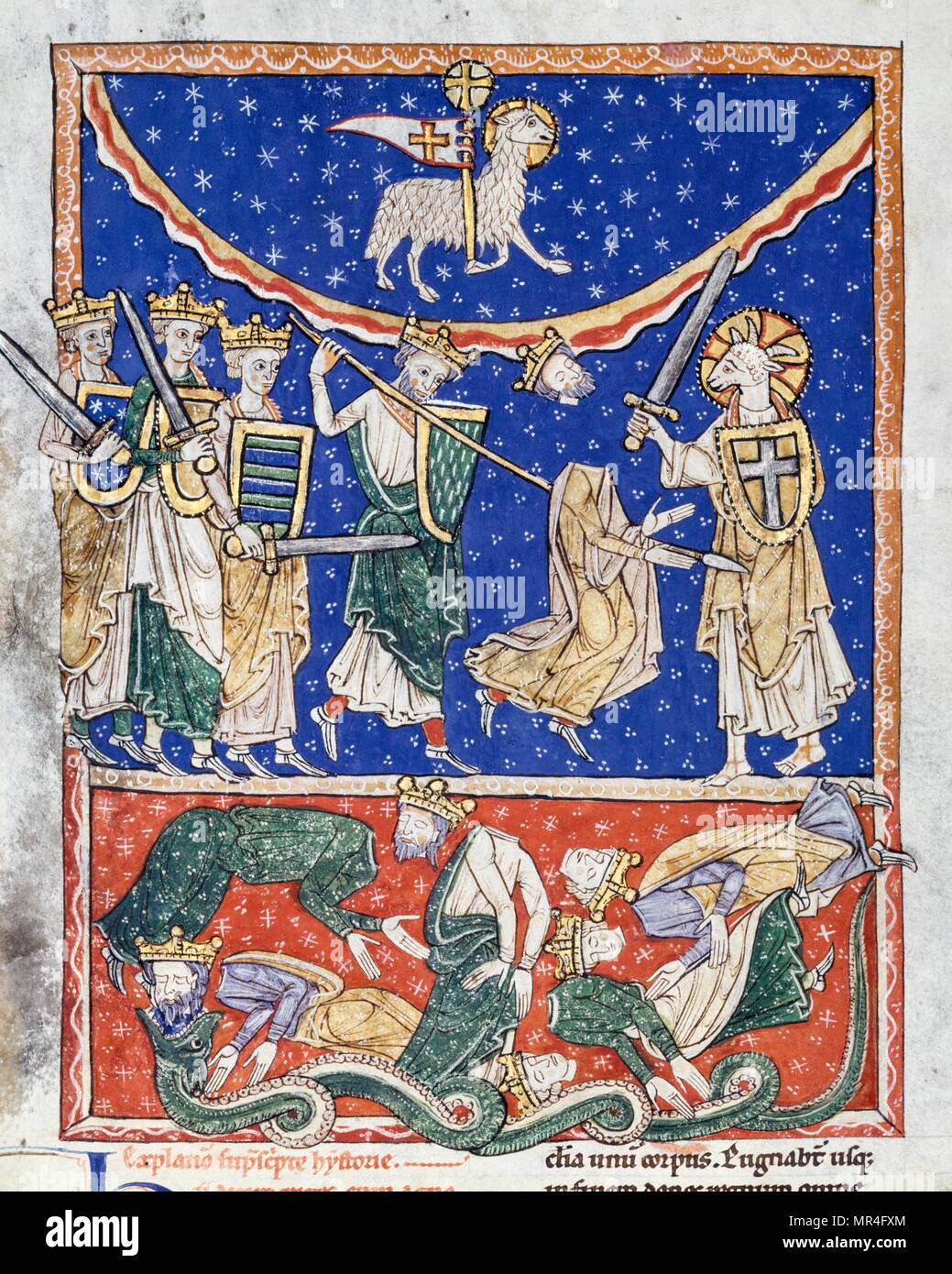 The Lamb Defeating the Ten Kings, Spanish, about 1220–35. Medieval illustration from the Beatus of Liébana (c. 800 Ad). Saint Beatus was a monk, theologian and geographer from the former Duchy of Cantabria and Kingdom of Asturias, in modern Cantabria, northern Spain, who worked and lived in the Picos de Europa mountains of the region of Liébana. He is best remembered today as the author of the Commentary on the Apocalypse - Stock Image