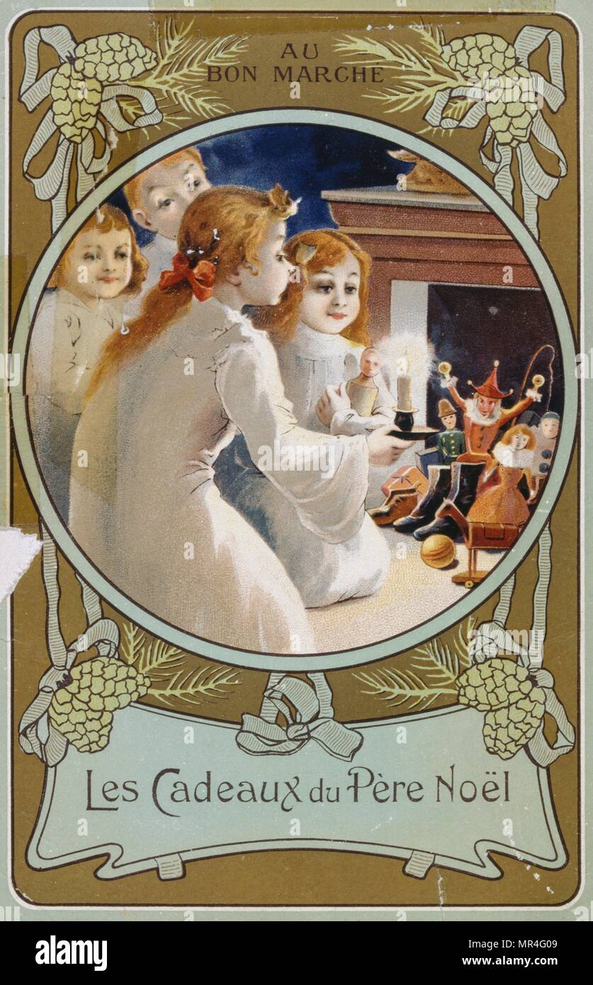 French Christmas card showing girls with a candle on Christmas Eve. 1900 - Stock Image