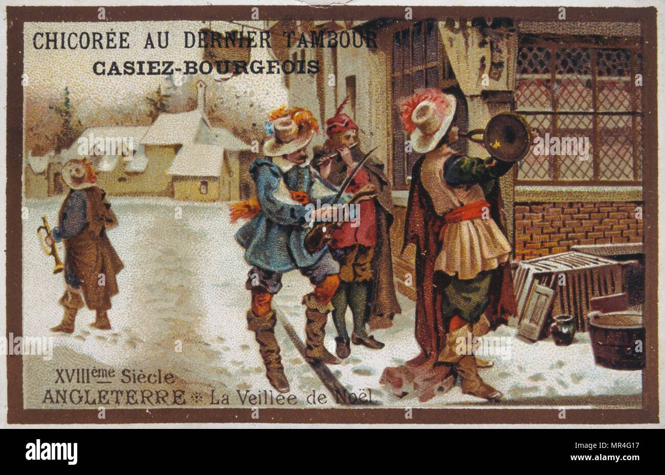 Leibig card showing seventeenth century English street musicians playing at Christmas. 1900 - Stock Image
