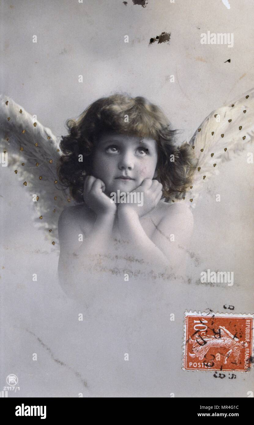 French Postcard Dated Circa 1900 Showing A Young Angel With Wings