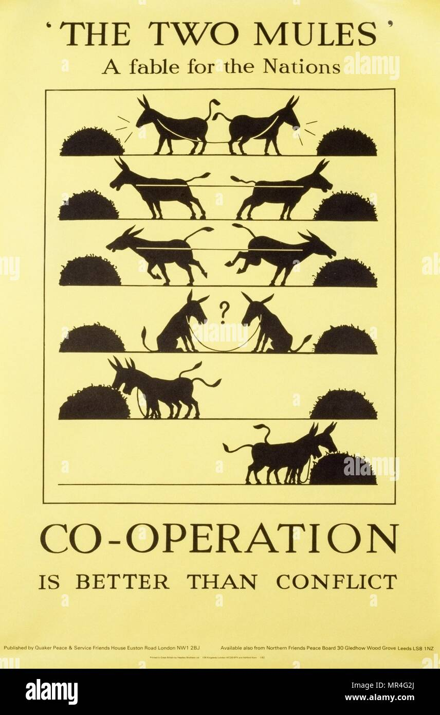 Co-operation is better than conflict' Quaker Peace organisation, British anti-Cold War, propaganda poster 1970 - Stock Image