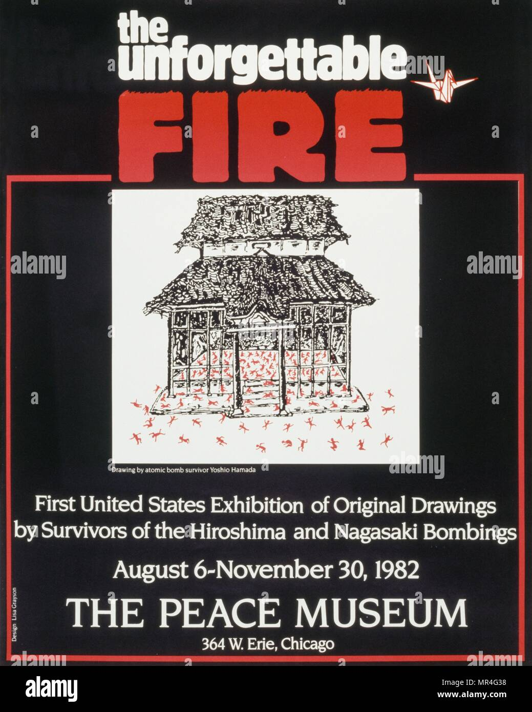 Poster for the Peace Museum exhibition on Survivors of the Nuclear Bomb at Hiroshima. 1982, Chicago - Stock Image