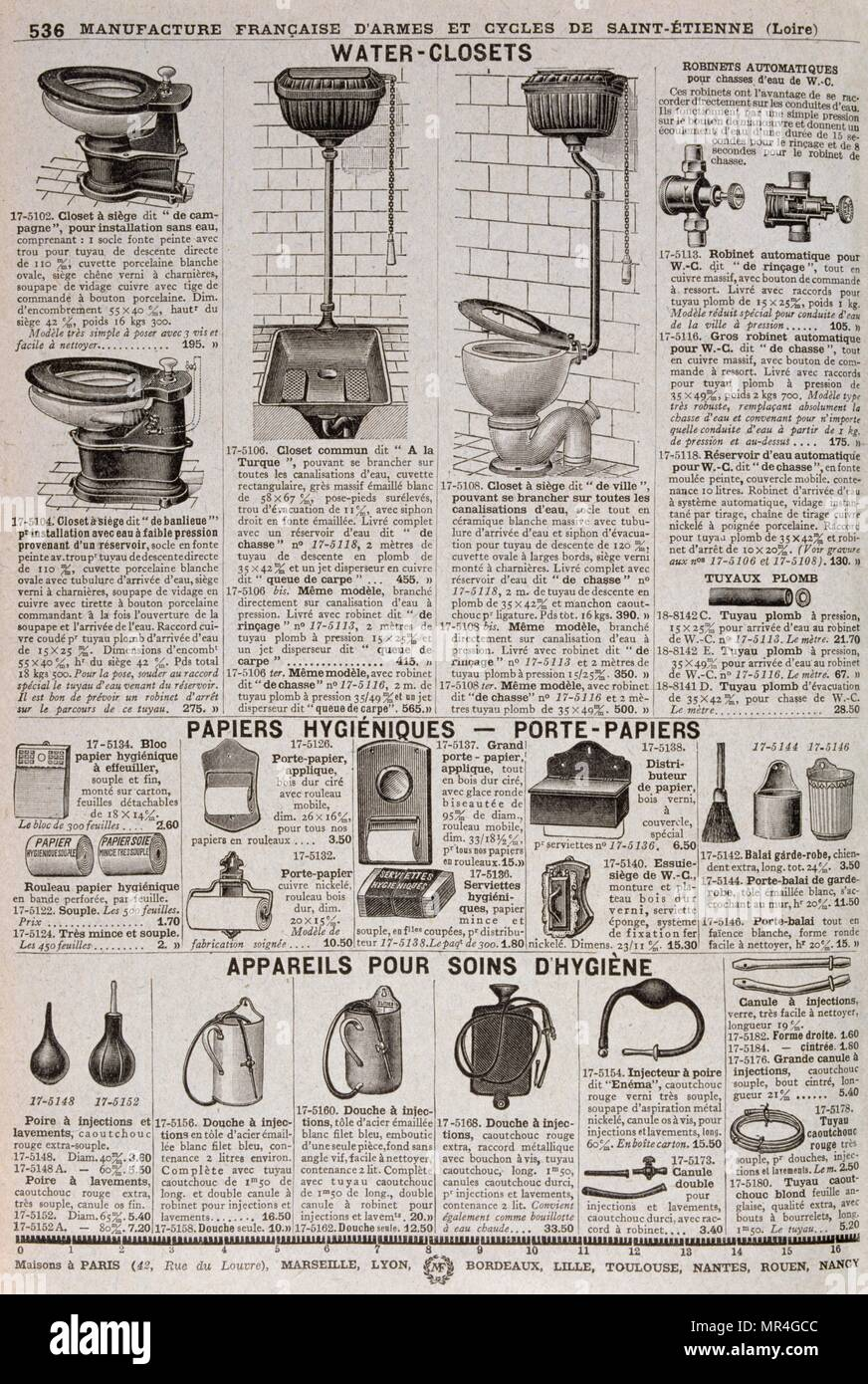 Catalogue of advertisements for modern toilet (lavatory) units 1900 - Stock Image