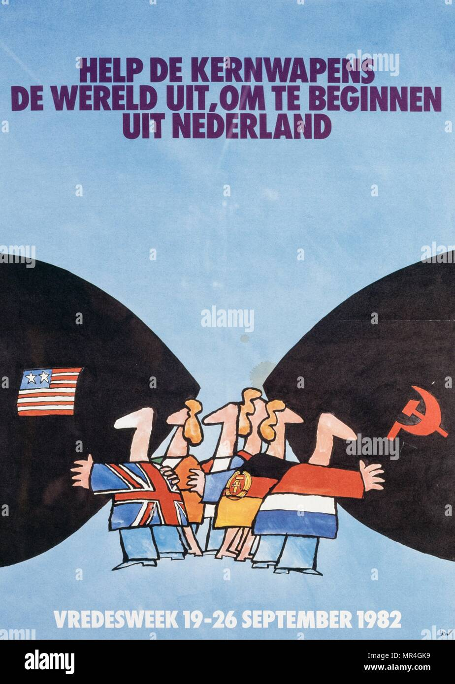Dutch disarmament campaign poster during the Cold War era 1982 - Stock Image