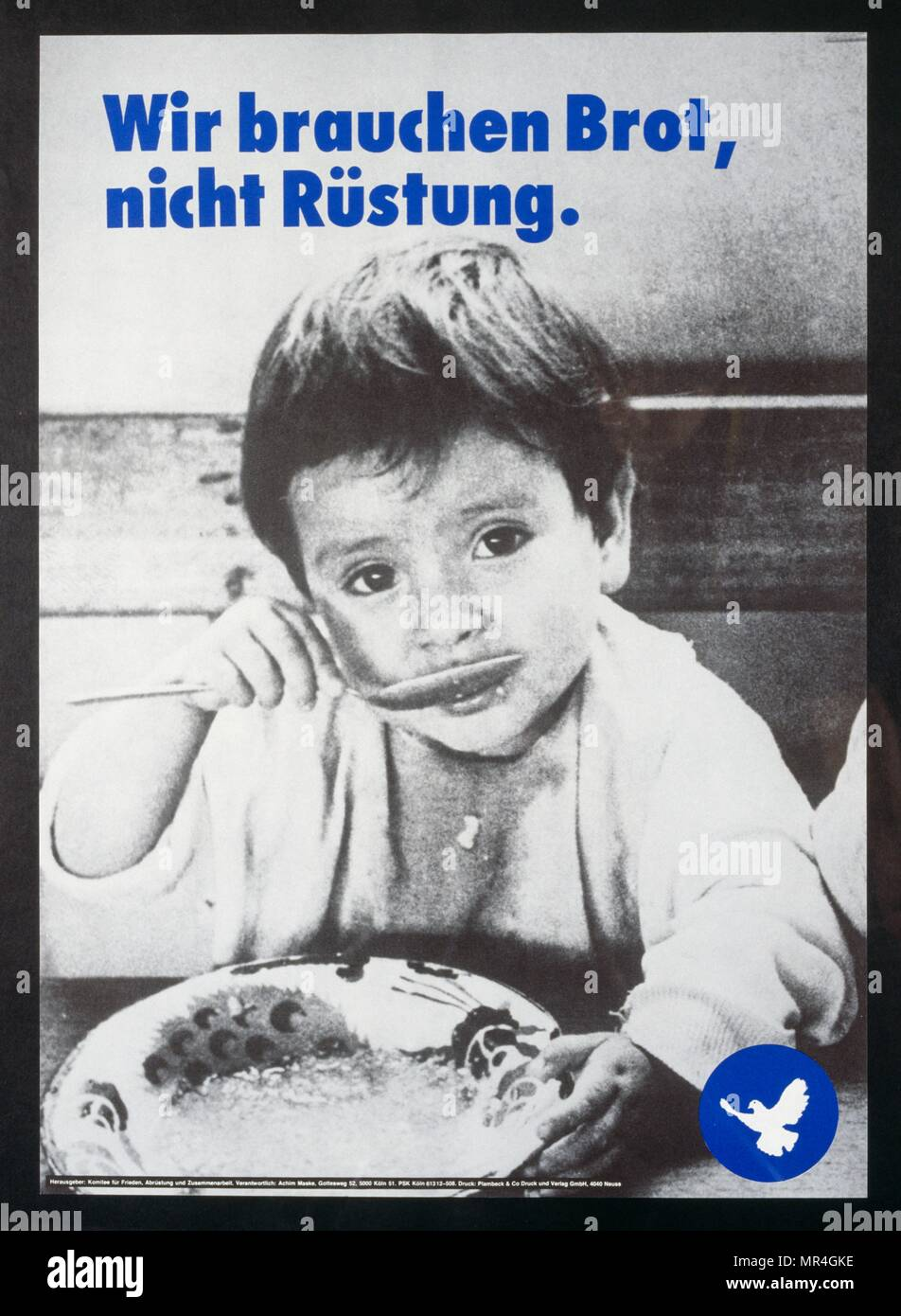 German poster campaigning for peace 1980 - Stock Image