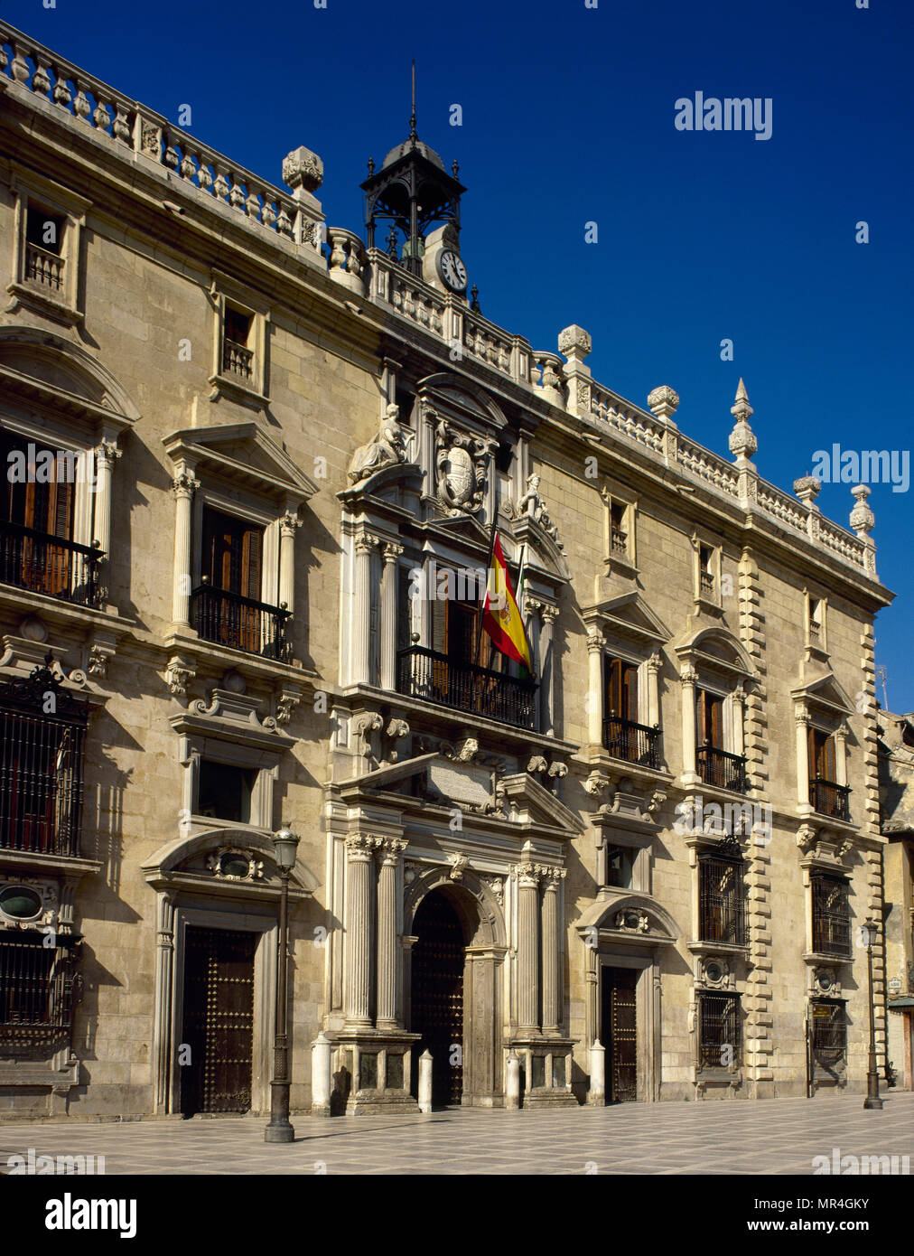 Granada, Andalusia, Spain. Palace of The Royal Chancellery. Institution created by the Catholic Monarchs, moving the Tribunal from Ciudad Real to Granada. This building dates from around 1530, during the reign of Charles I. It was designed by the Andalusian architect Francisco del Castillo el Mozo (1528-1586). - Stock Image