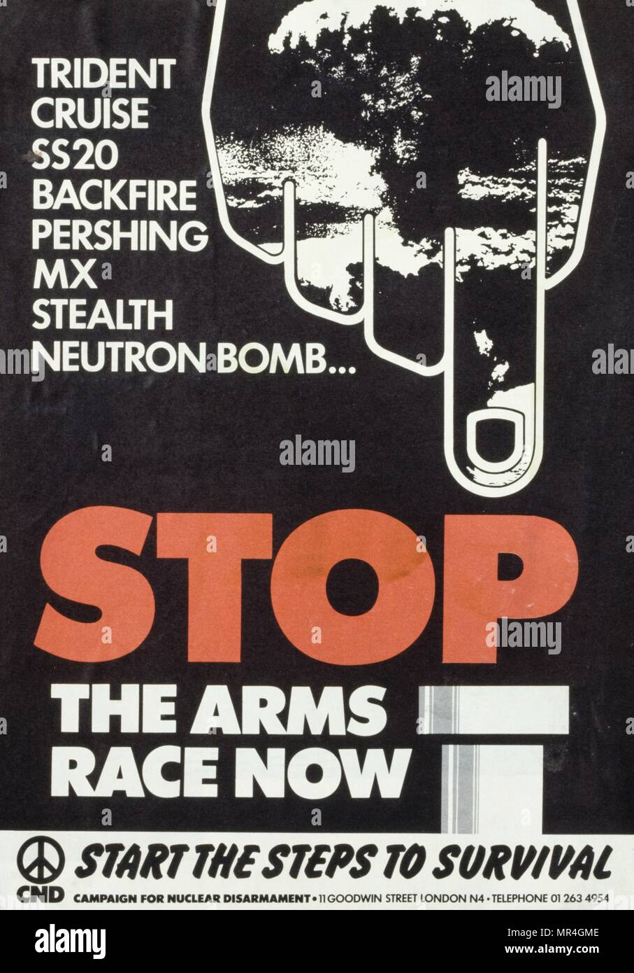 British CND (campaign for nuclear disarmament) anti-nuclear weapons peace poster 1981, produced during the Cold War - Stock Image