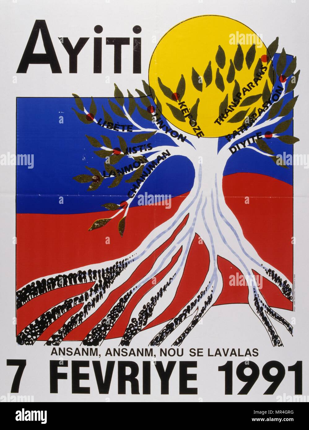 Political poster for the 1990 elections in Haiti - Stock Image