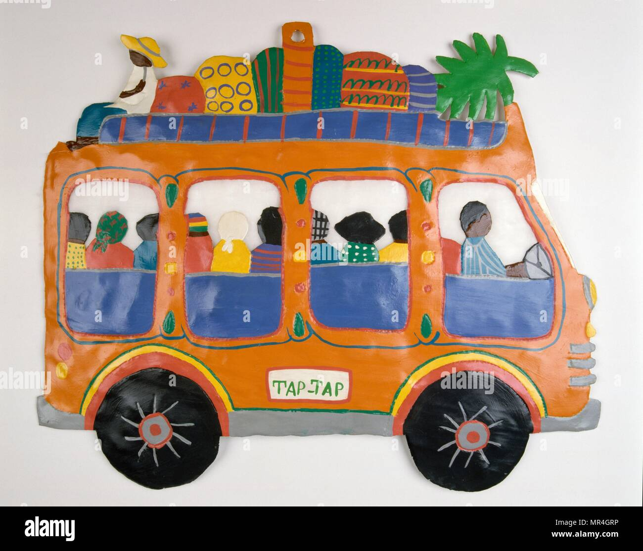 Haitian Folk Art: Painting Of A Tap Tap Bus In Haiti. 1995