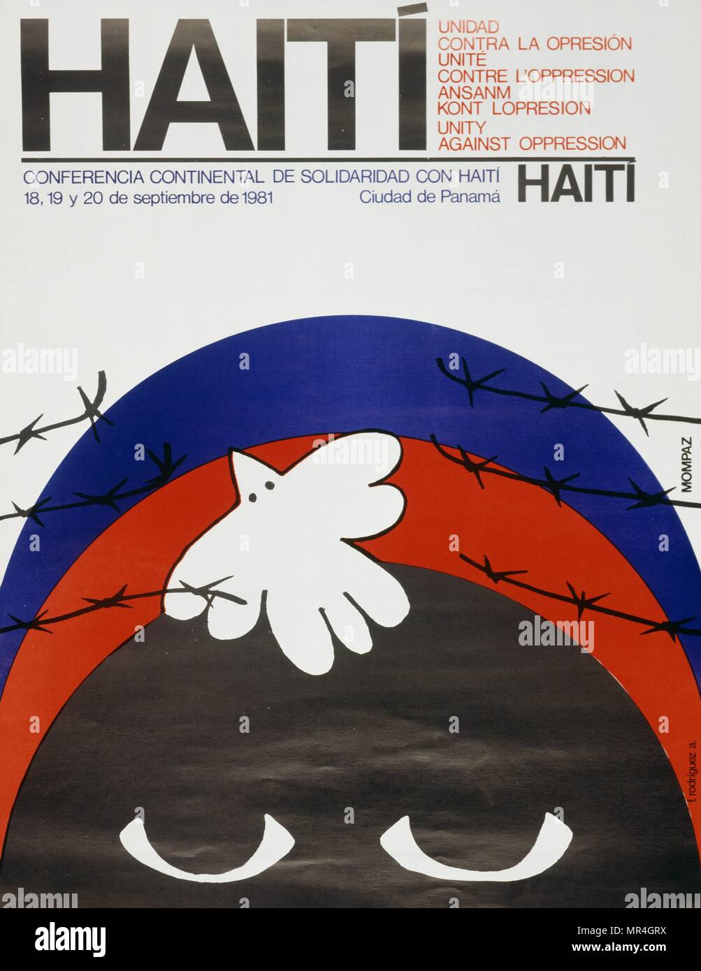 Programme for a human rights conference on Haiti held in Panama City. 1981 - Stock Image