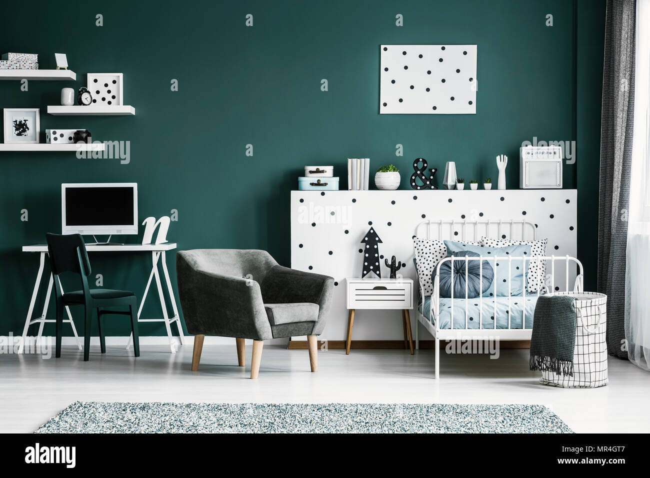 Workspace With A Computer In A Stylish Bedroom Interior For A Teenage Student With White Furniture And Dark Green Walls Stock Photo Alamy