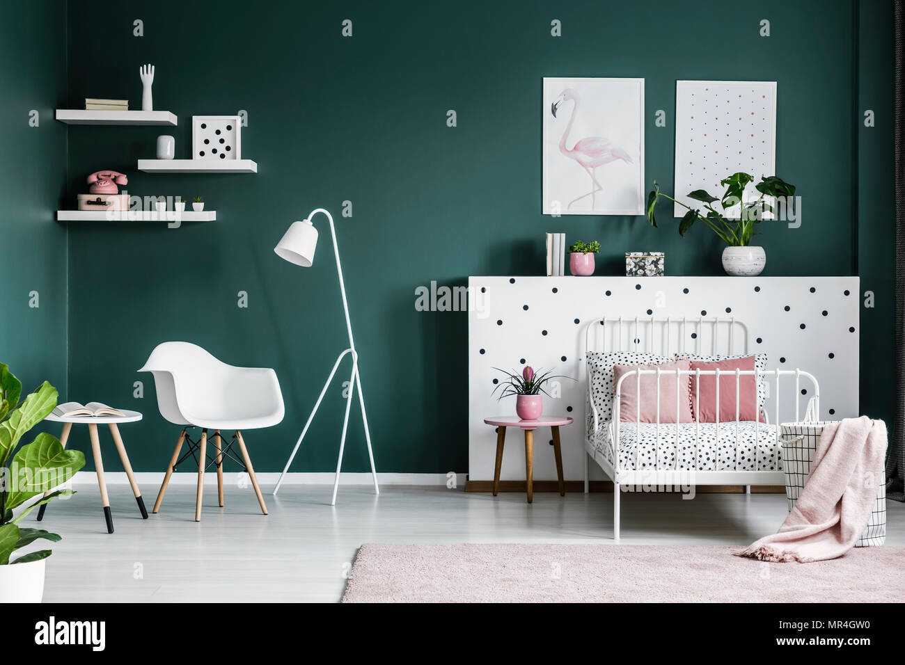 Pastel pink decorations in a scandi bedroom interior for a teenage ...