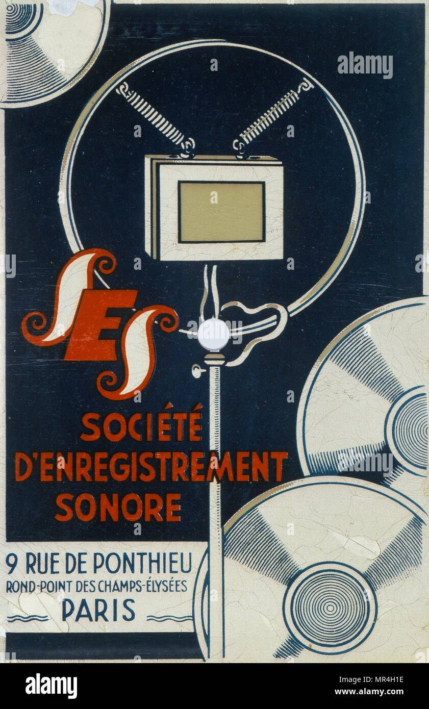 poster for the French society for recorded sound, depicting a microphone 1900 - Stock Image