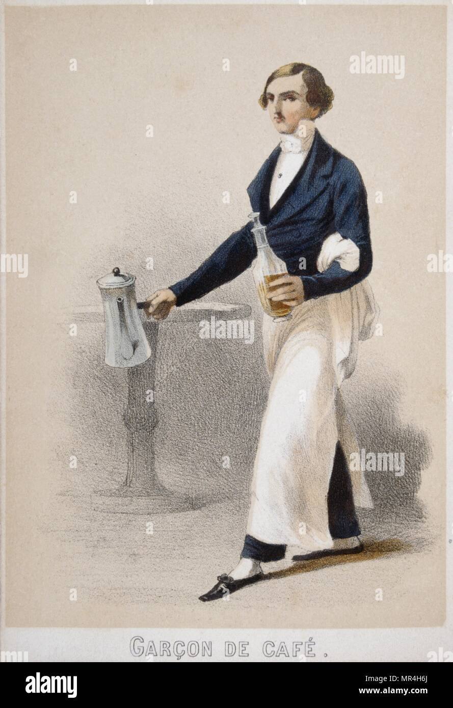 Illustration depicting a French waiter in a cafe 1850 - Stock Image