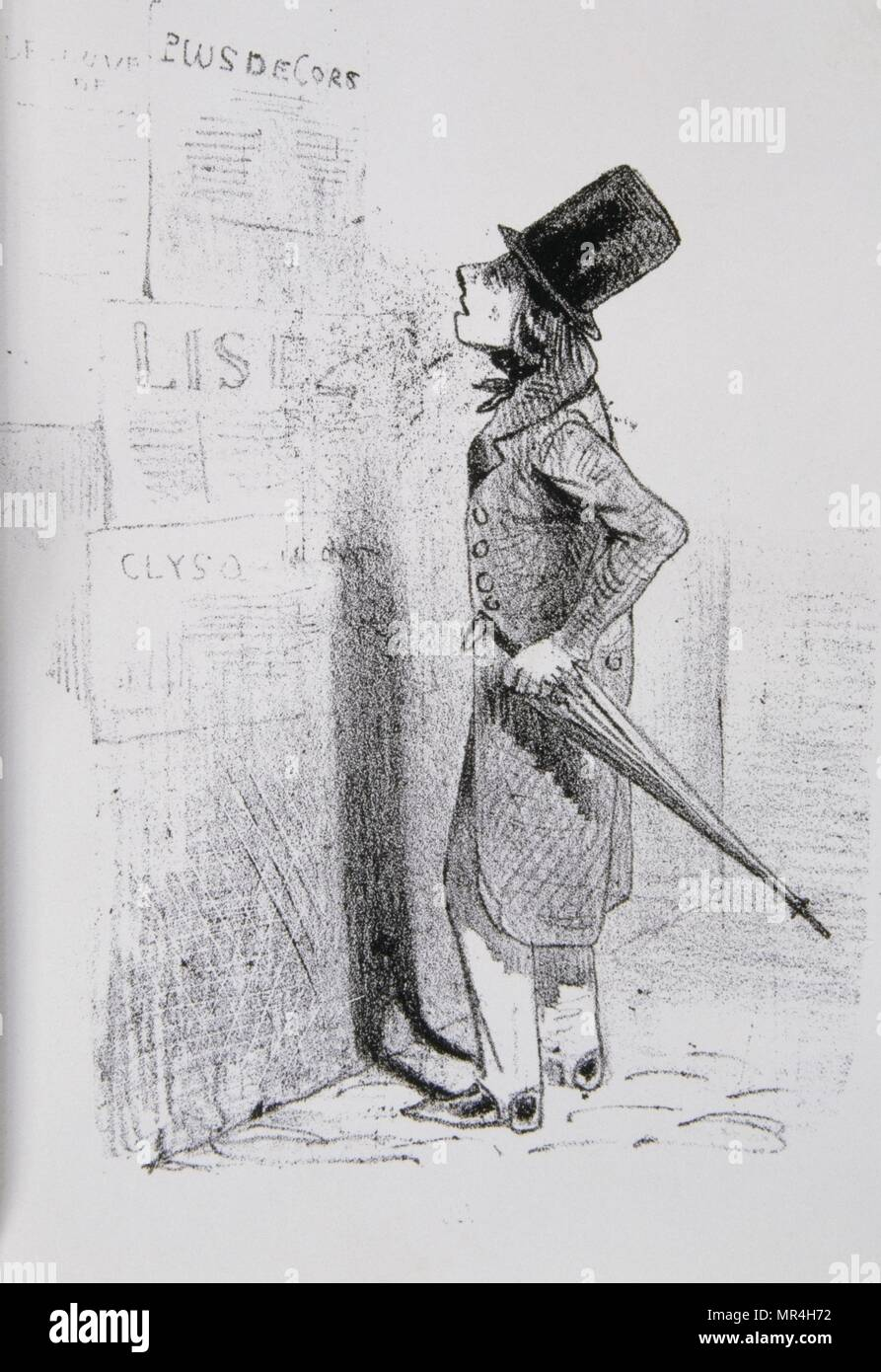Drawing of a man in Paris reading news bills posted on a wall. 1850 - Stock Image