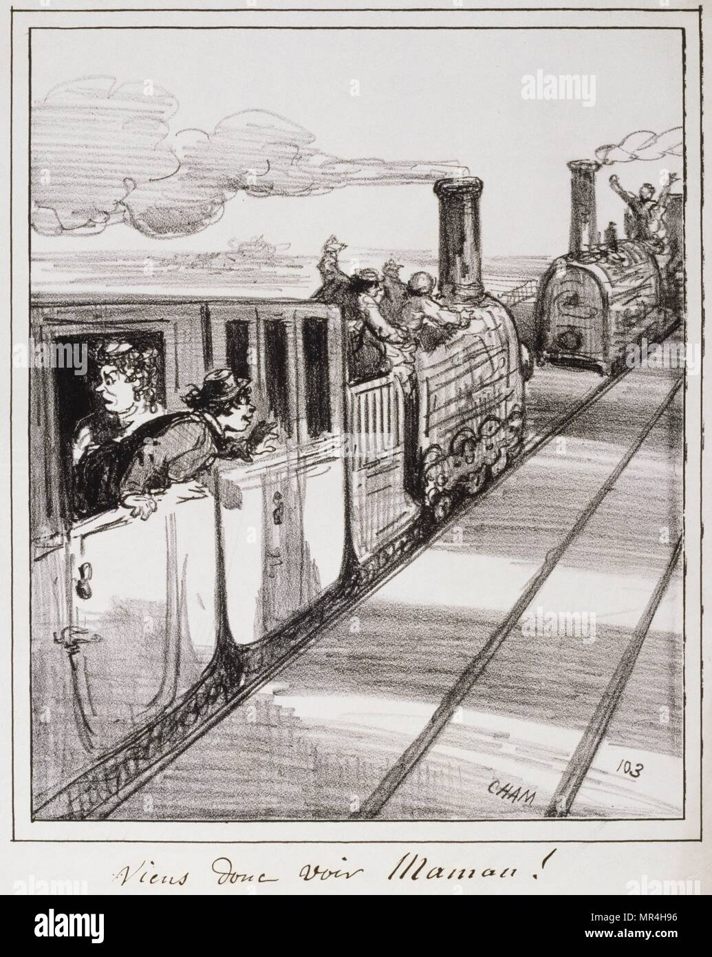mid-19th century French illustration showing two trains departing in opposite directions as passengers wave farewell. 1850 - Stock Image