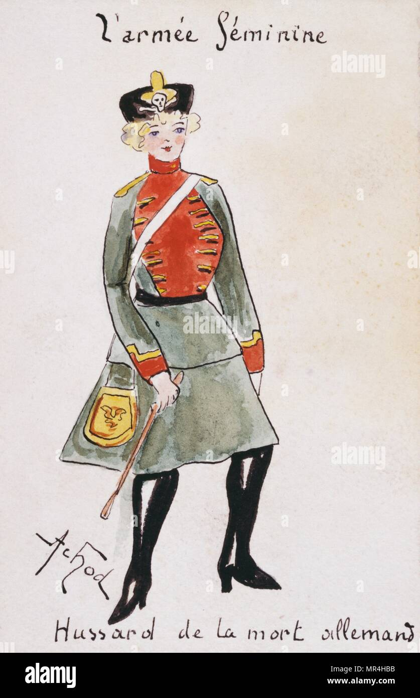 French art nouveau postcard satirising women in military uniform 1900: German Hussar - Stock Image