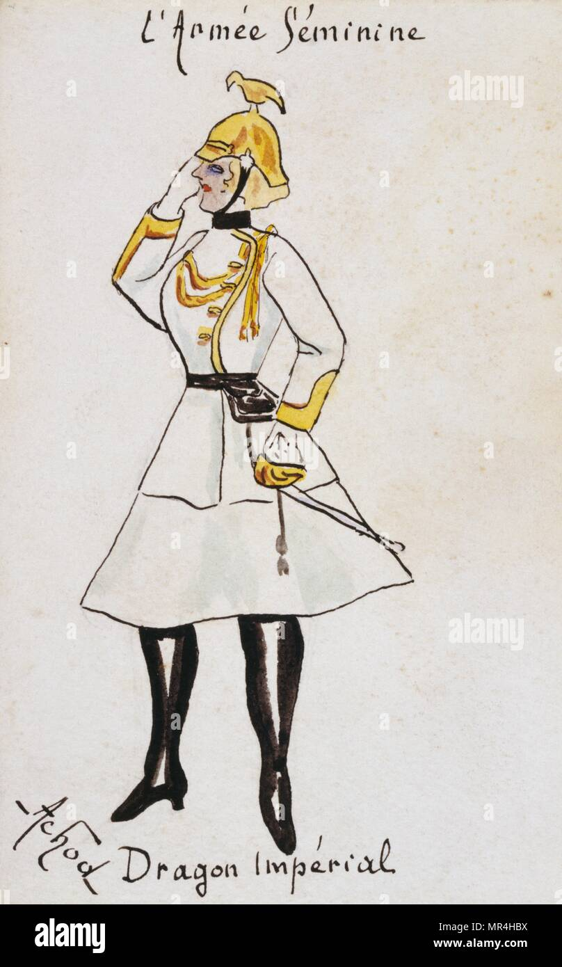 French art nouveau postcard satirising women in military uniform 1900: German Imperial dragoon - Stock Image