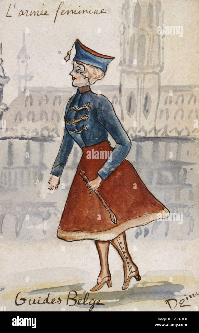 French art nouveau postcard satirising women in military uniform 1900: Belgian cavalry - Stock Image