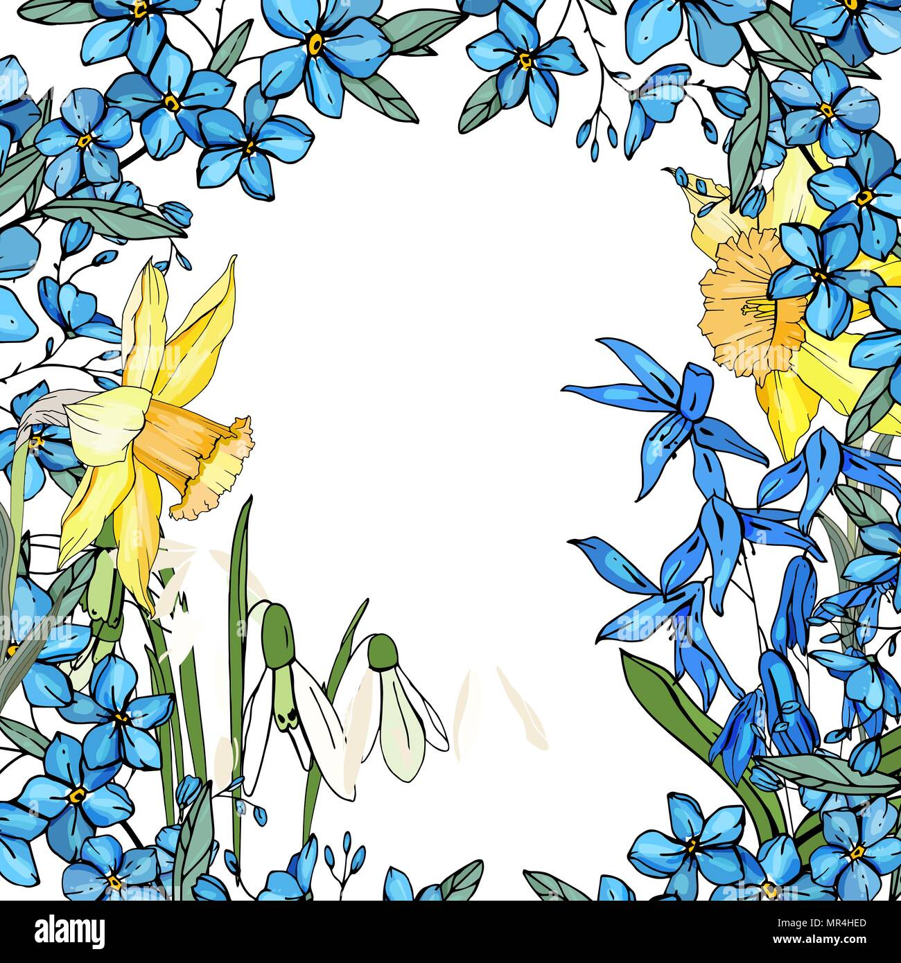 Frame With Spring Flowers Daffodils And And Small Blue Flowers Stock