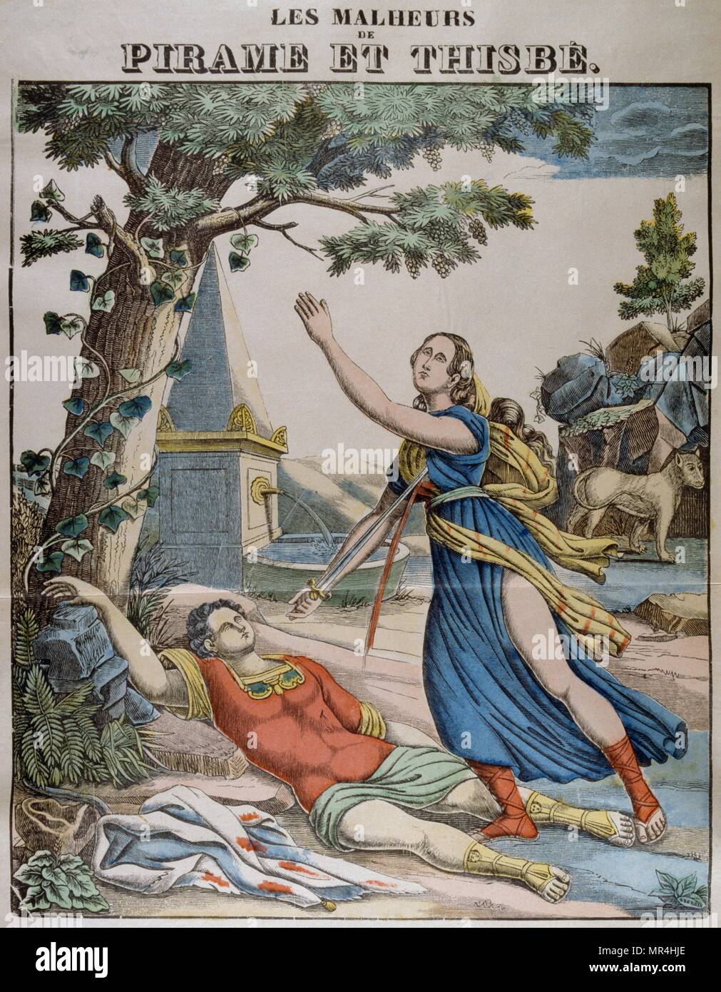 Coloured illustration showing Pyramus and Thisbe, a pair of ill-fated lovers whose story forms part of Ovid's Metamorphoses. French circa 1850 - Stock Image