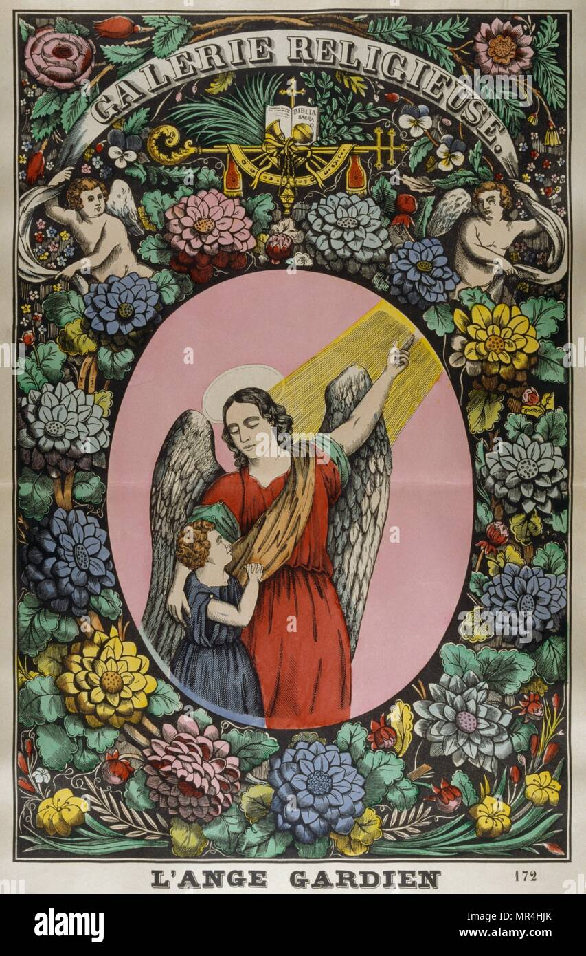 Coloured illustration showing a Catholic interpretation of the notion of a guardian angel. French circa 1850 - Stock Image