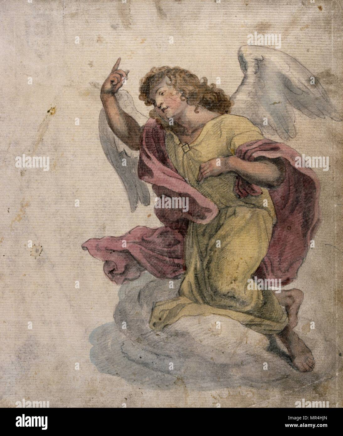watercolour illustration showing an angel. French circa 1830 - Stock Image