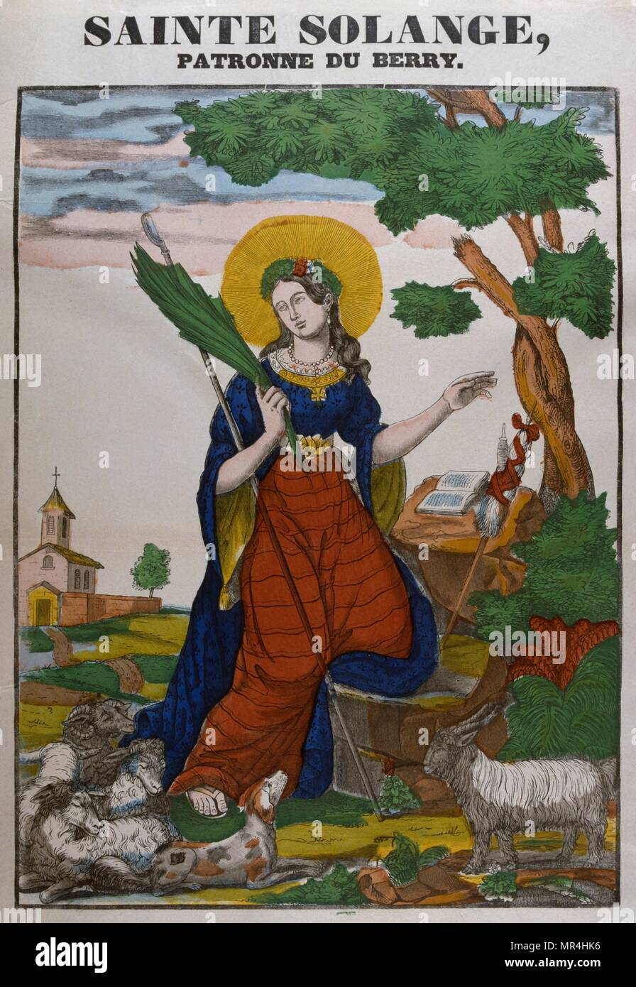 Coloured woodblock illustration showing Saint Solange (died c. 880). She was a Frankish shepherdess and a locally venerated Christian saint, whose cult is restricted to Sainte-Solange, Cher. according to some, her mere presence cured the sick and exorcised devils. she was abducted and beheaded - Stock Image