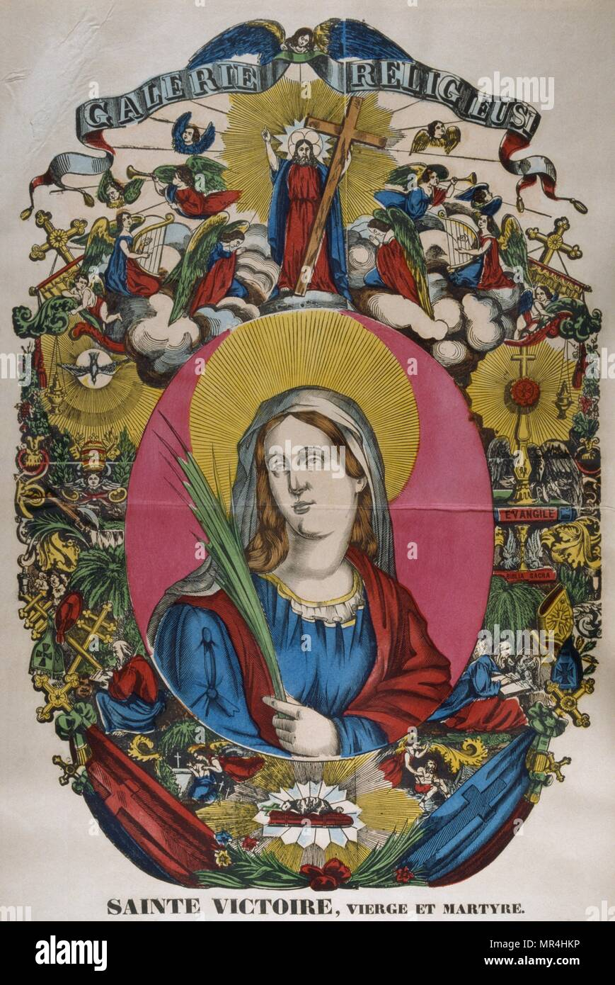 French 19th century, coloured illustration showing the Catholic, Saint Victoire (died 253). - Stock Image