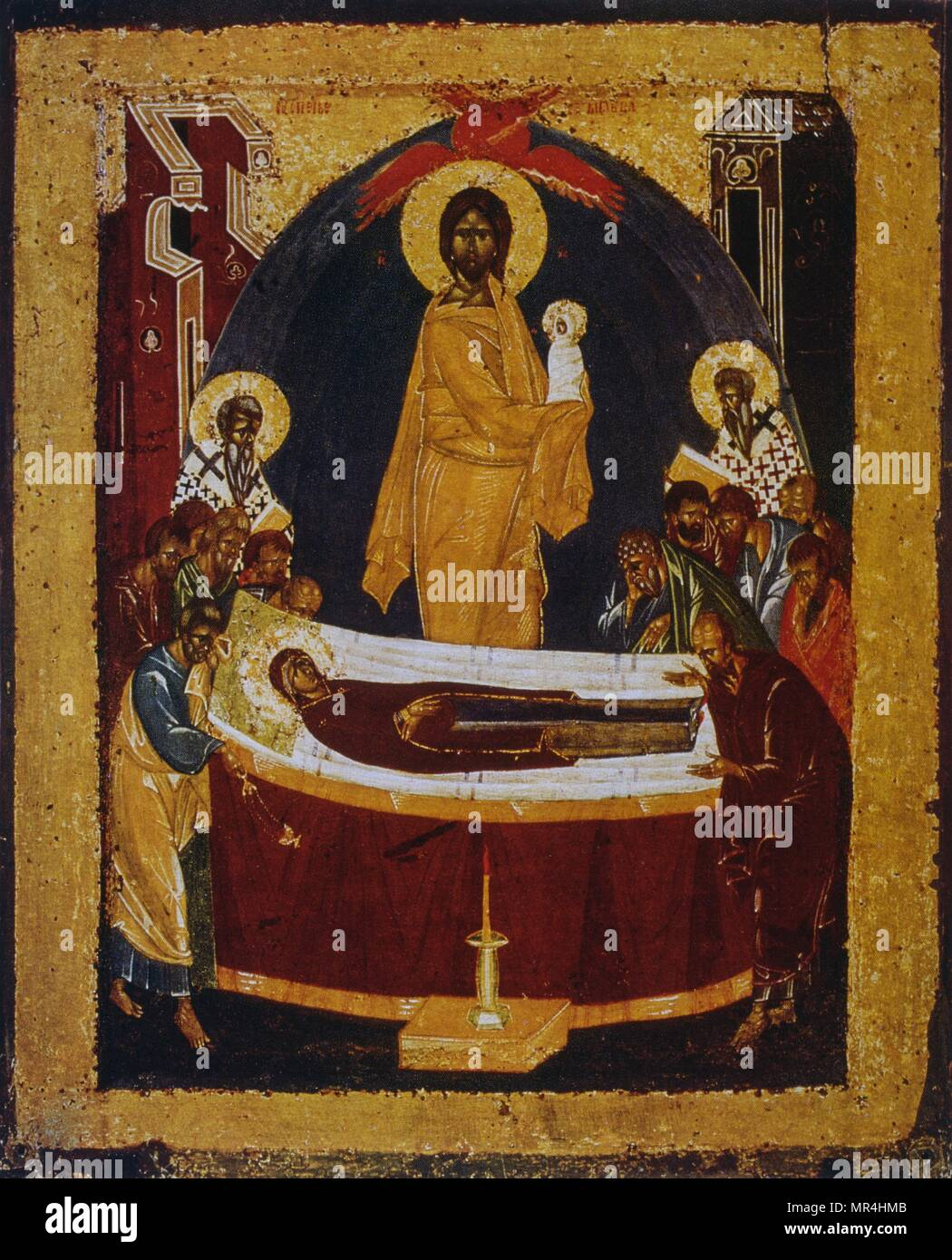 14th century Russian orthodox icon showing the death of the Virgin Mary. Jesus looks on as the Virgin is laid on her deathbed. Stock Photo