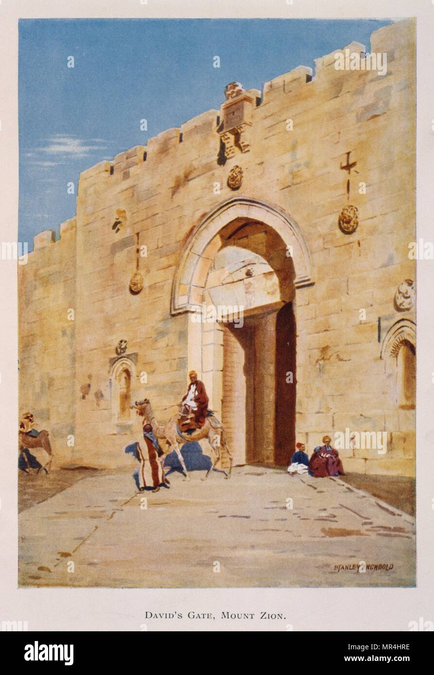 Watercolour by Stanley Inchbold, depicting the King David or Zion Gate, in Jerusalem, Palestine 1906 - Stock Image