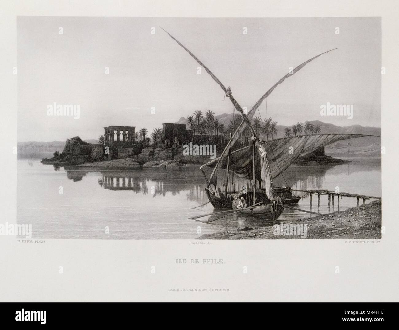 Engraving by Victor Guerin (1821 - 1891) depicting The island temple of Philae in Egypt. built during the Ptolemaic Kingdom it was the principal deity of the temple complex was Isis. 1875 Stock Photo