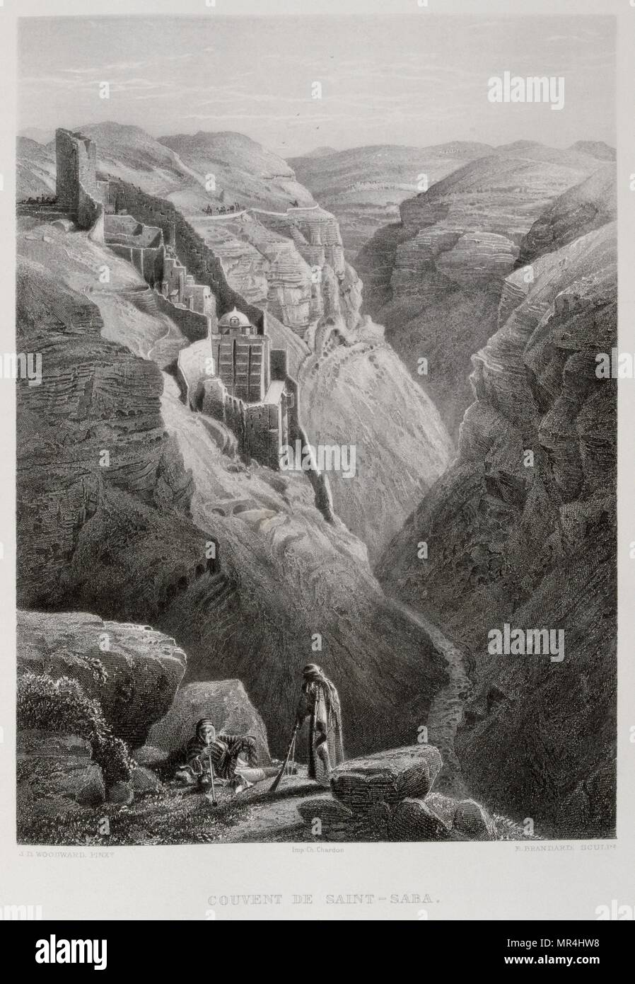 1875 Engraving, by Victor Guerin (1821 - 1891), depicting The Holy Lavra of Saint Sabbas the Sanctified, Mar Saba, an Eastern Orthodox Christian monastery overlooking the Kidron Valley at a point halfway between the Old City of Jerusalem and the Dead Sea - Stock Image