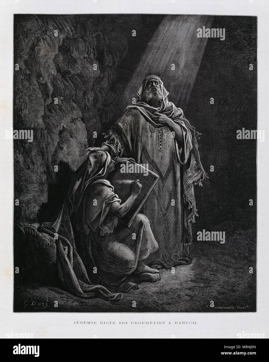 Jeremiah a prophet of the Hebrew Bible (Old Testament), dictates to  Baruch ben Neriah. Engraving by Gustav Dore 1866. According to religious tradition, Jeremiah authored the Book of Jeremiah, the Books of Kings and the Book of Lamentations were under the editorship of Baruch ben Neriah, his scribe and disciple. - Stock Image