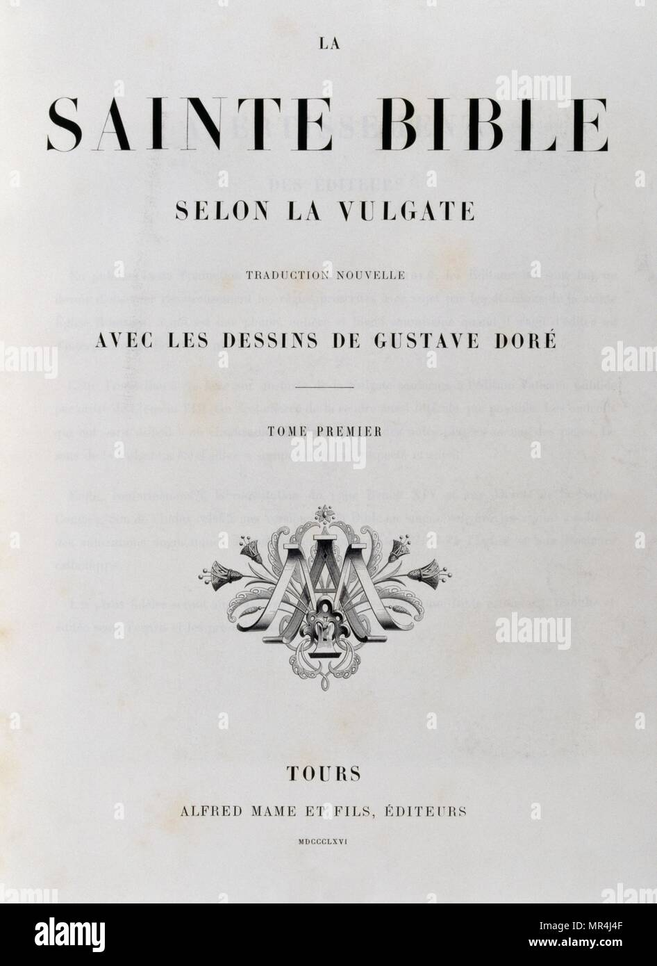Title page of the French 1866 Bible, illustrated by Gustave Dore (1832-1883) - Stock Image
