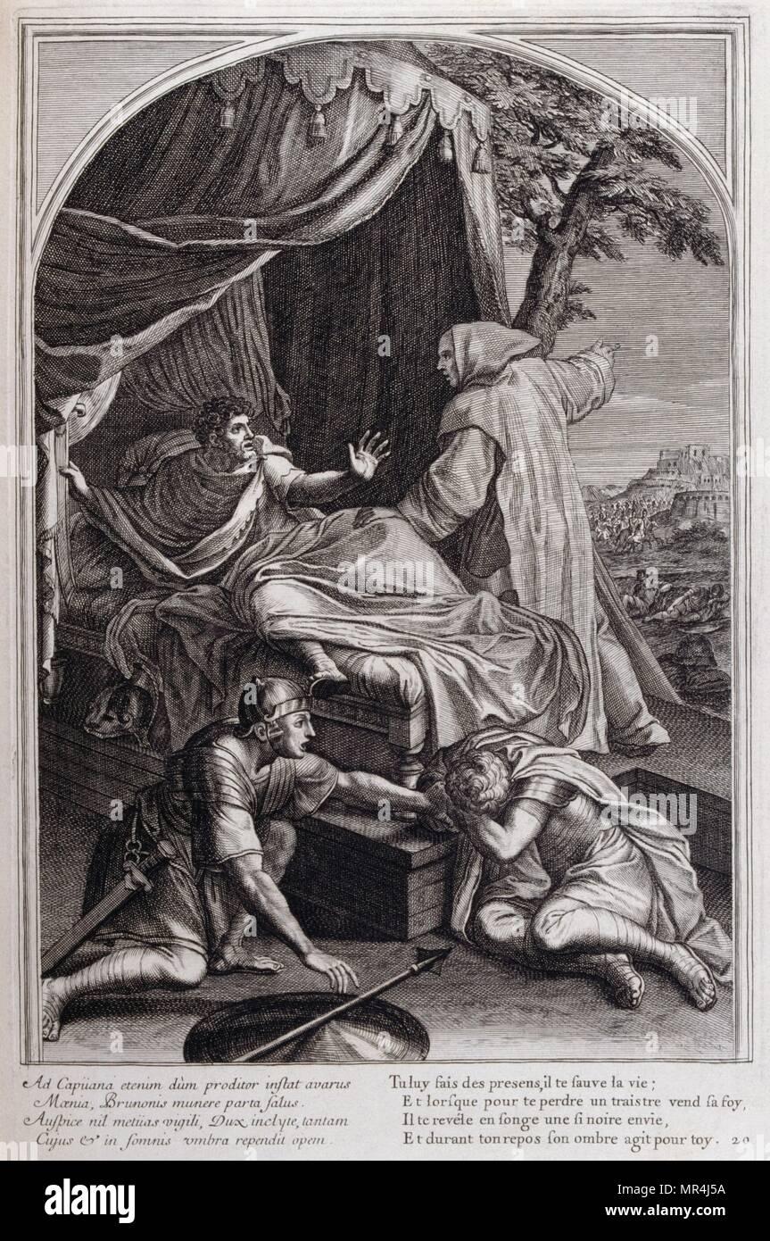 Illustration from 'La vie de St. Bruno, fondateur de l'ordre des Chartreux' Paris 1660. after the paintings of Eustache Le Sueur and engraved by Francois Chauveau - Stock Image