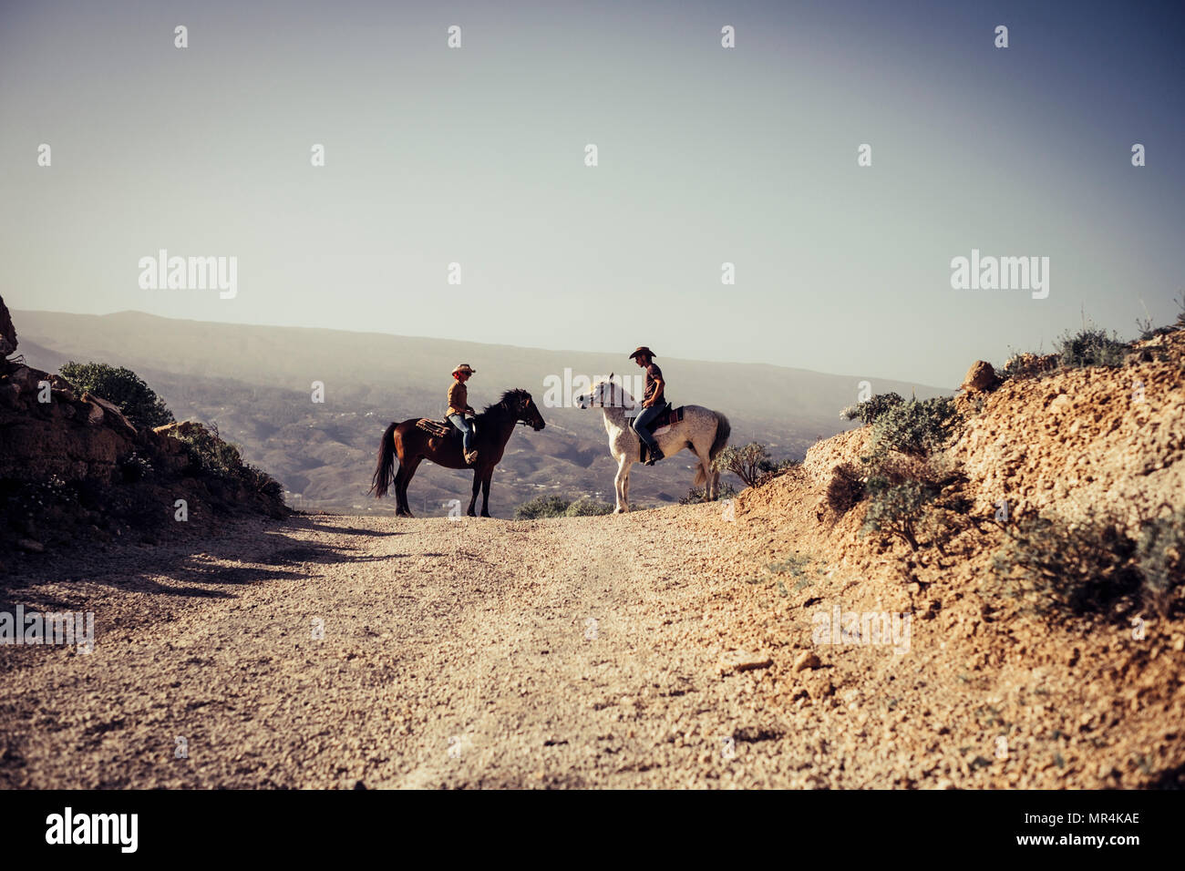 couples of horses and riders man and woman in love in the nature countryside. freedom and alternative lifestyle concept for modern cowboy and cowgirl  - Stock Image