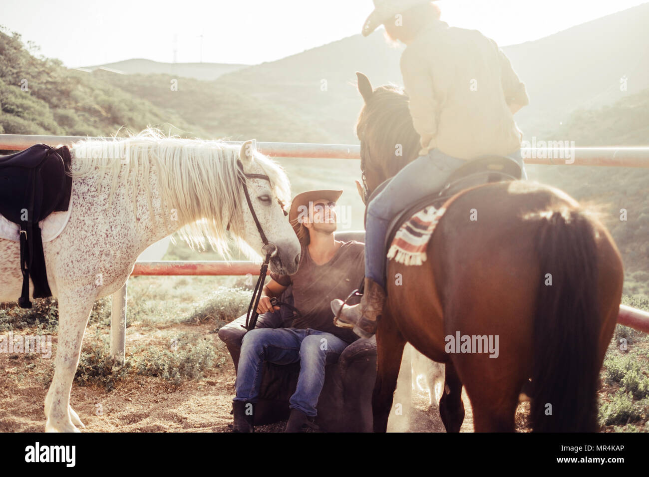 countryside and horse farm daily scene with sun and backlight. two horses and two rider man and woman smile for a beautiful day in the nature. friends - Stock Image