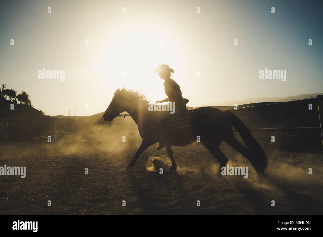 beautiful girl ride a horse in silhouette and backlight with sunflare and dust from the ground. epic and heroes image for speed and cowbot life and ad - Stock Image