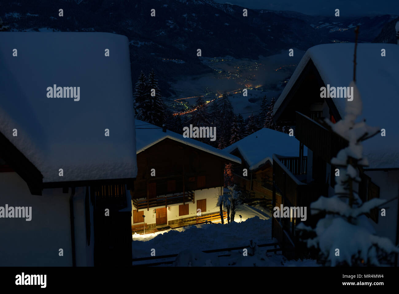 Night view from Forgarida, a ski resort town in the Dolomite Mountains, Italy - Stock Image